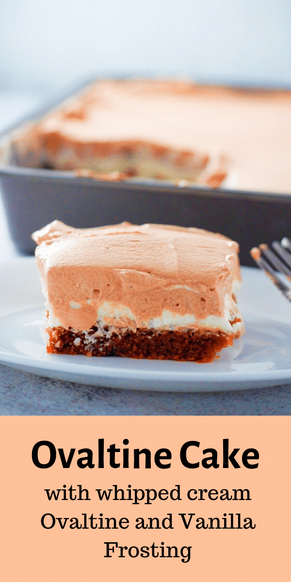 This Ovaltine cake is chocolatey and melt in your mouth. You will love the creamy combination of Ovaltine and vanilla whipped cream on a super moist cake. #ovaltine #chocolatecake #maltedchocolatecake