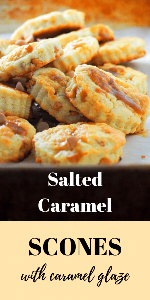 Salted Caramel Scones are delightful buttery treats with bits of caramel chips, a luscious caramel glaze and finished with a sprinkling of sea salt. #caramel #saltedcaramel #scones
