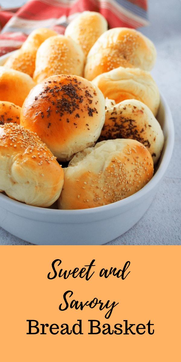 This Sweet and Savory Bread Basket is an assortment of 4 flavors, sweet and savory, combined in one batch.Ham and cheese, chocolate, honey and liver spread. #sweetbread #savorybread #assortedbread