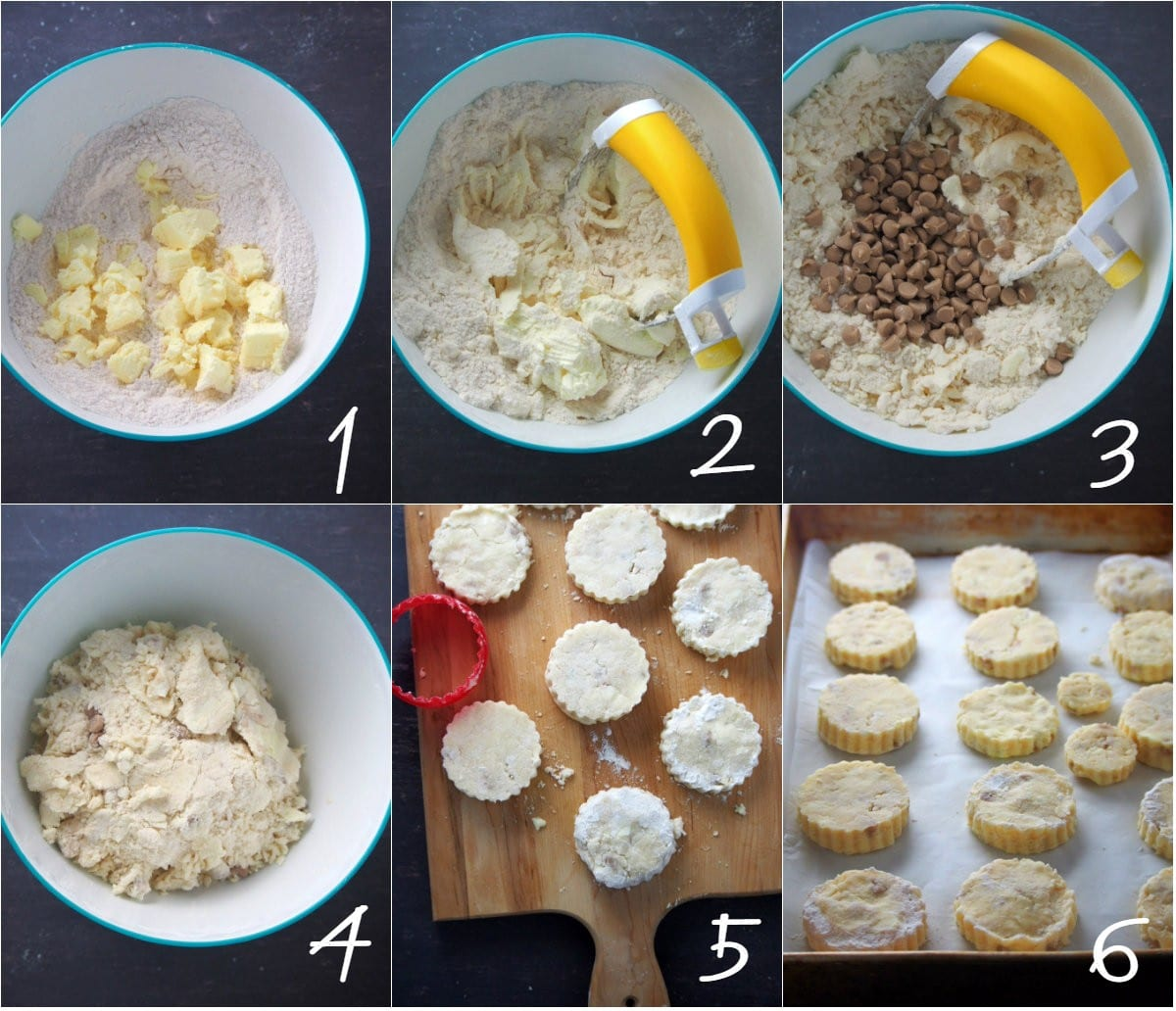 A collage showing the process of making salted caramel scones.
