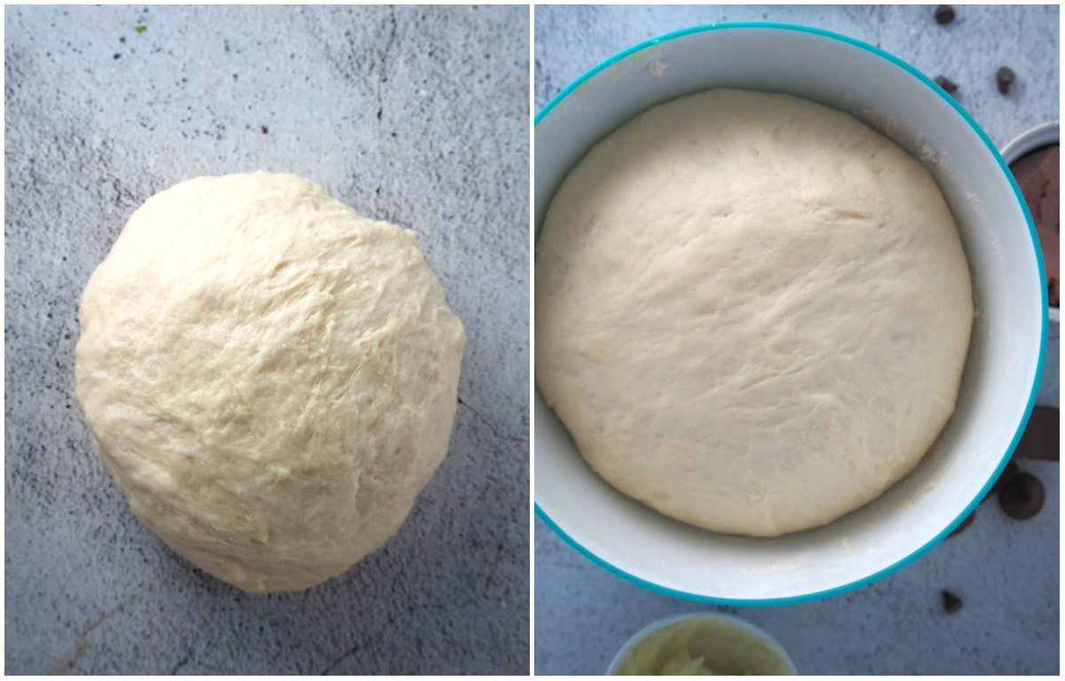 The bread dough for the sweet and savory assorted bread before and after the first rise.