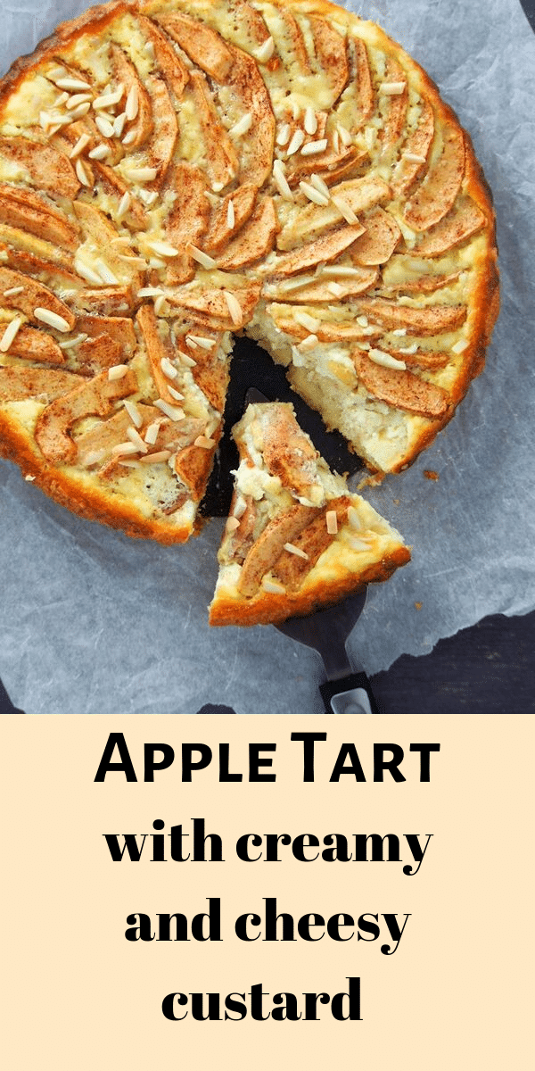Tender-crisp apple slices layered over a bed of a creamy and cheesy vanilla custard, this apple tart is a wonderful pastry to serve this Fall and the holiday season. #Apples #tart #thanksgiving
