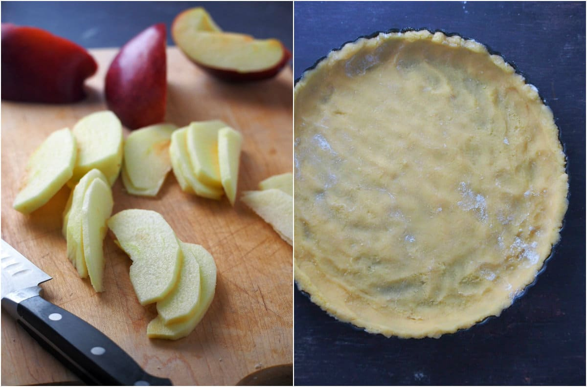 Collage showing the sliced apples and the tart shell.