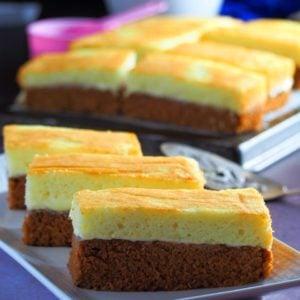 Choco Vanilla Chiffon Cake Slices on a serving plate.