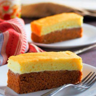 A slice of choco vanilla chiffon cake on a plate.