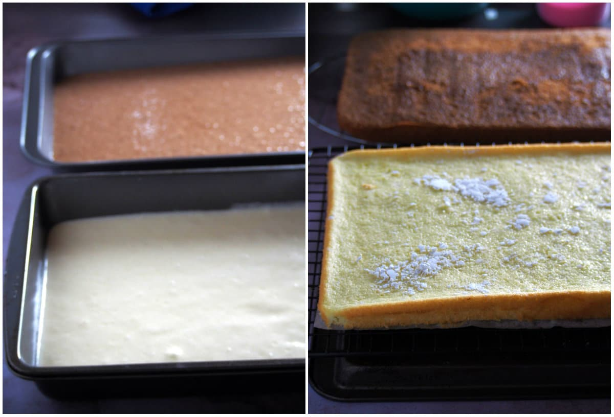 The chocolate and vanilla chiffon layers before and after baking.
