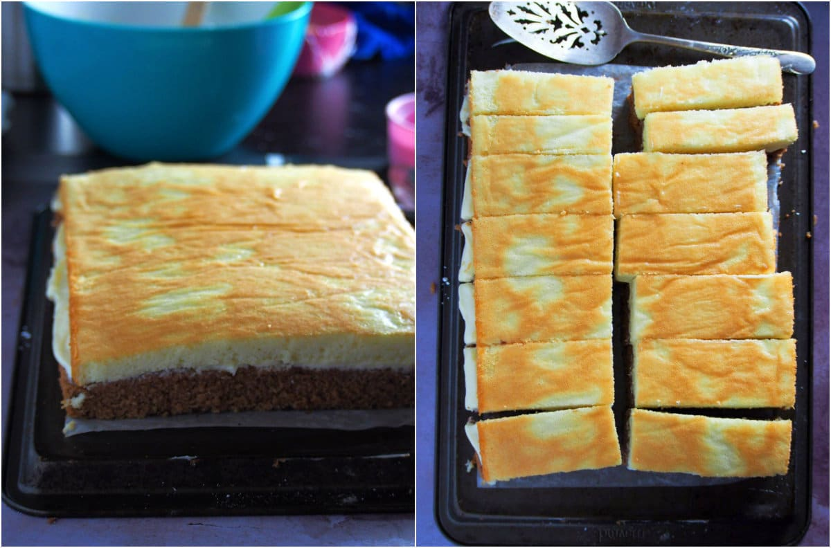 The cake layer sliced into rectangles to make the choco vanilla chiffon cake slices.