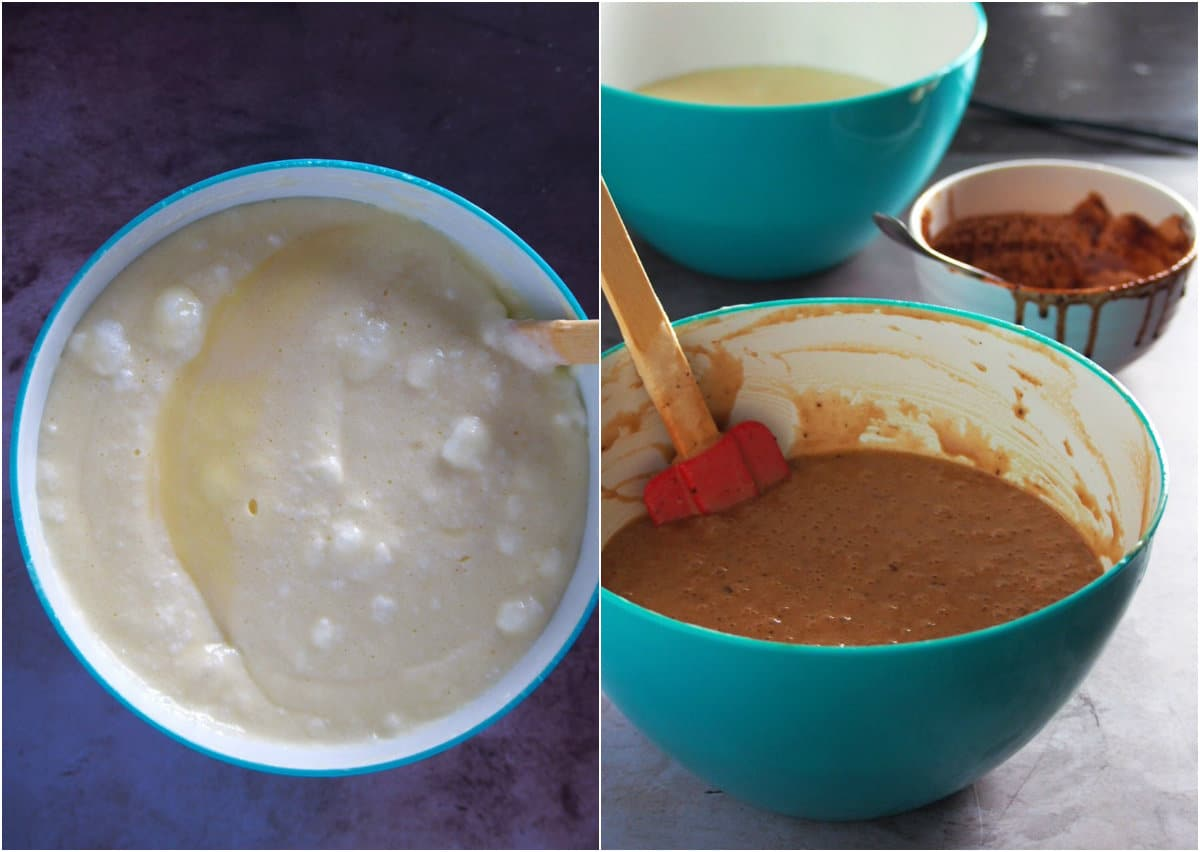 The chocolate batter and vanilla batter divided in separate bowls.