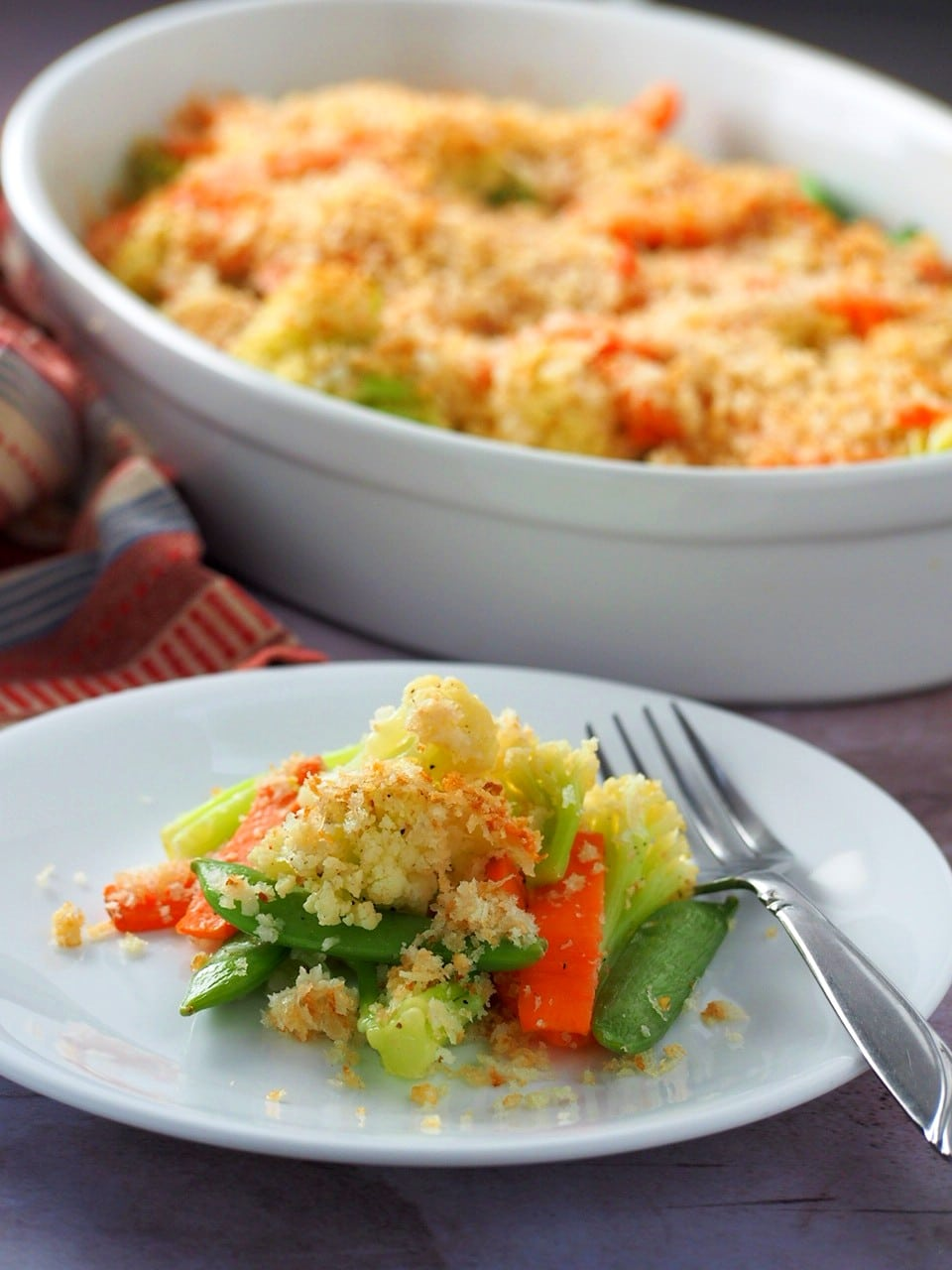 A serving of Easy Veggies Crunch on a plate.