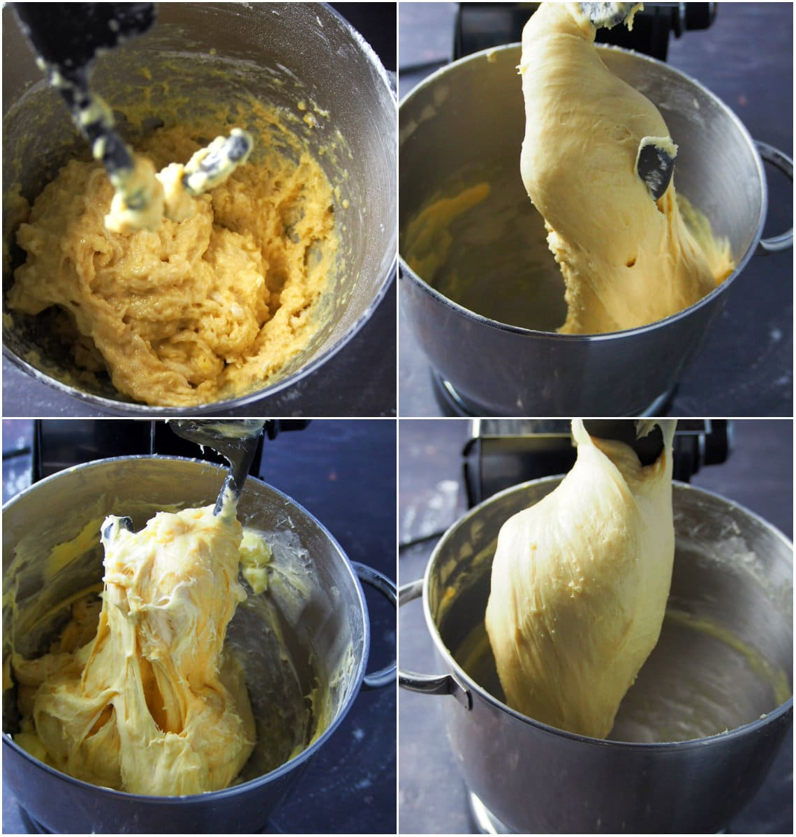 A process collage showing the mixing of the ensaymada dough.
