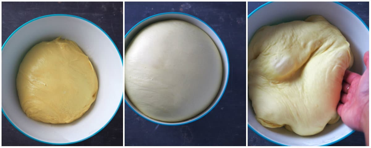 A collage showing the dough of the ube ensaymada before and after the rising.