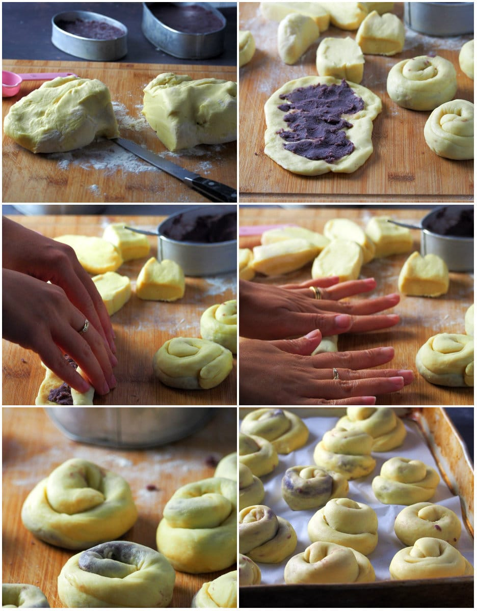 A process collage showing how to fill and assemble the dough to make the ube ensaymada pieces.