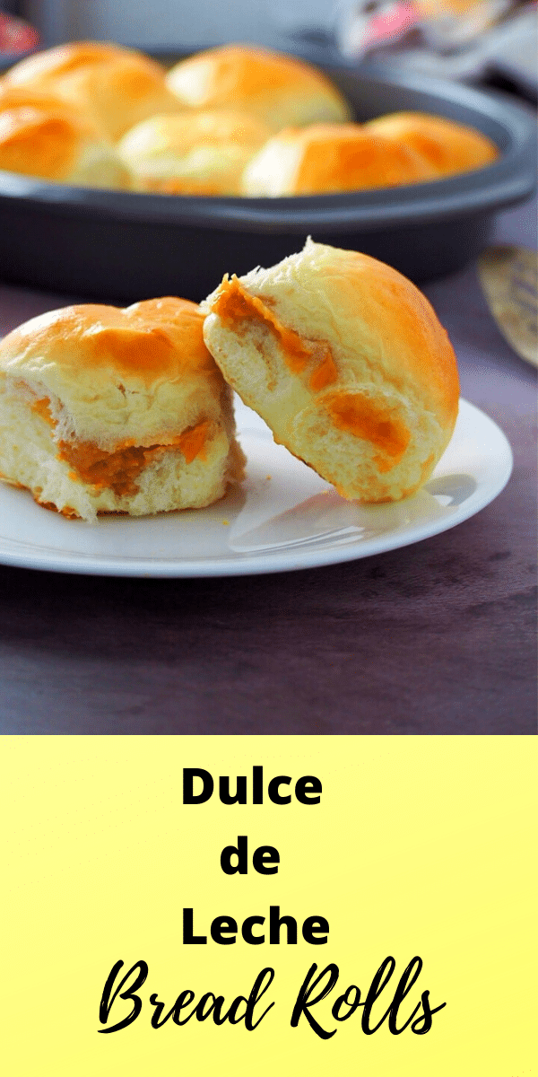 Indulge in these soft dulce de leche bread rolls that are filled with luscious dulce de leche cream in the centers. They are a delicious bread treat! #condensedmilk #sweetbuns #dulcedeleche | Woman Scribbles
