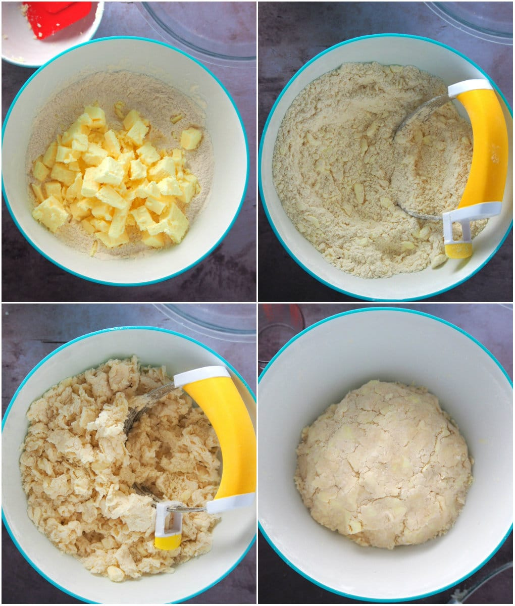 A photo collage showing how to make a pie crust for the Filipino Style Egg Pie.