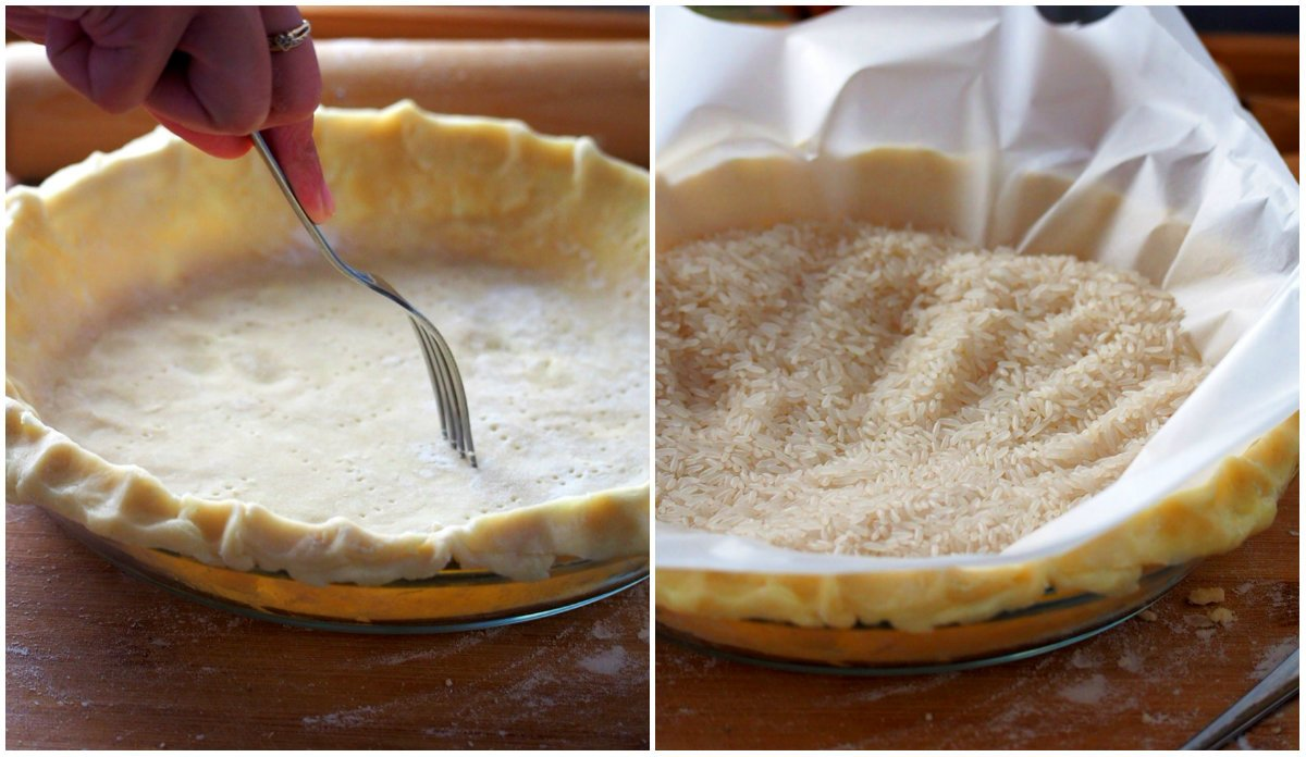 A collage showing how to put the pie weights to blind the crust.