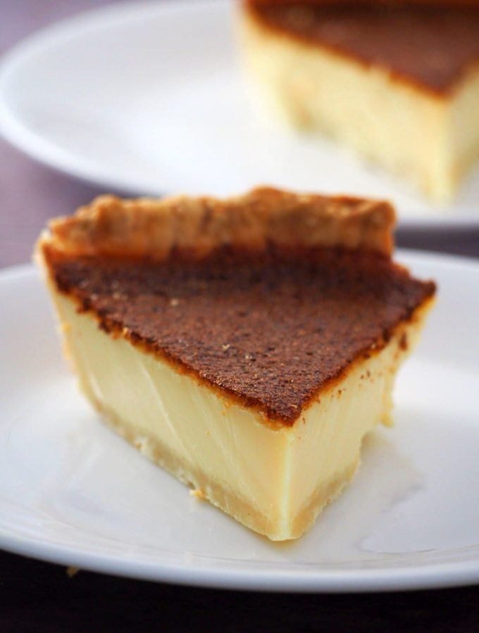 Close up of a slice of egg pie.
