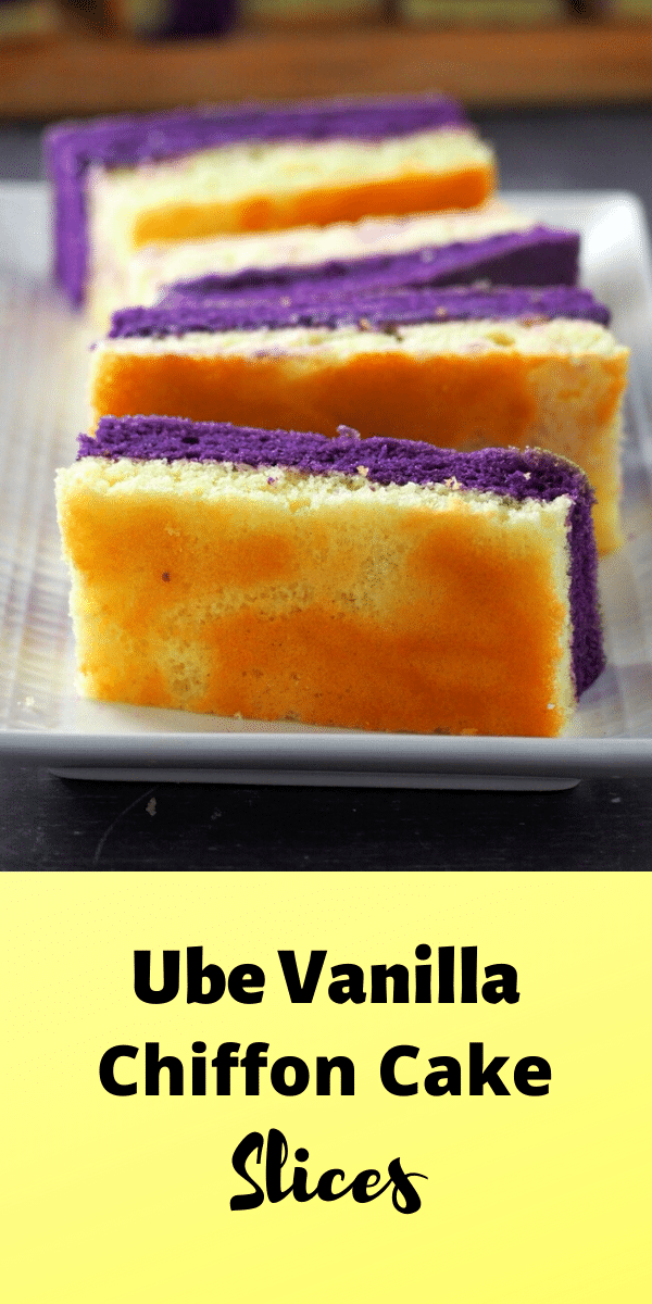 Ube Vanilla chiffon cake is made of of ube and vanilla cake slices, held together by a thin layer of ube buttercream. #chiffoncakes #purpleyam #Goldilock's
