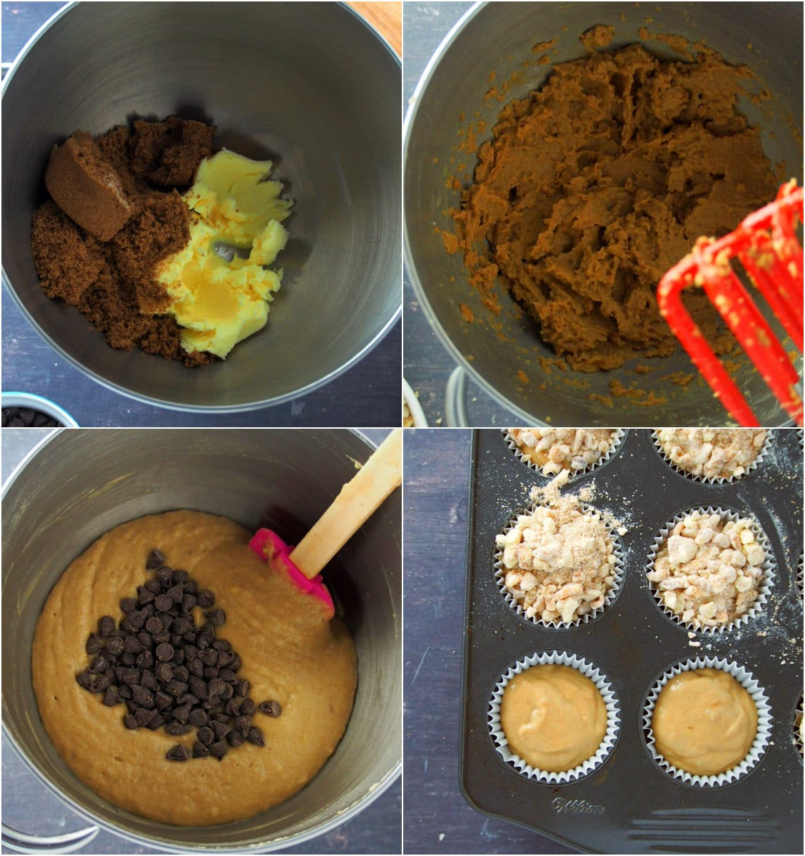 A photo collage showing how to mix the banana bread batter.