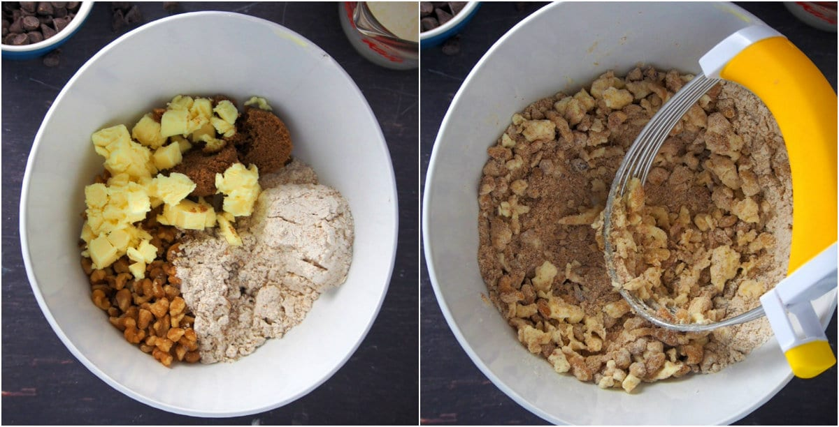 A collage showing how to make the streusel toppings for the banana bread cupcakes.