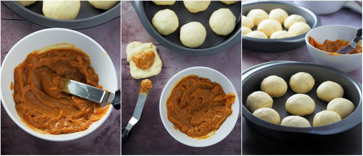 A collage showing the assembly of dulce de leche bread rolls.