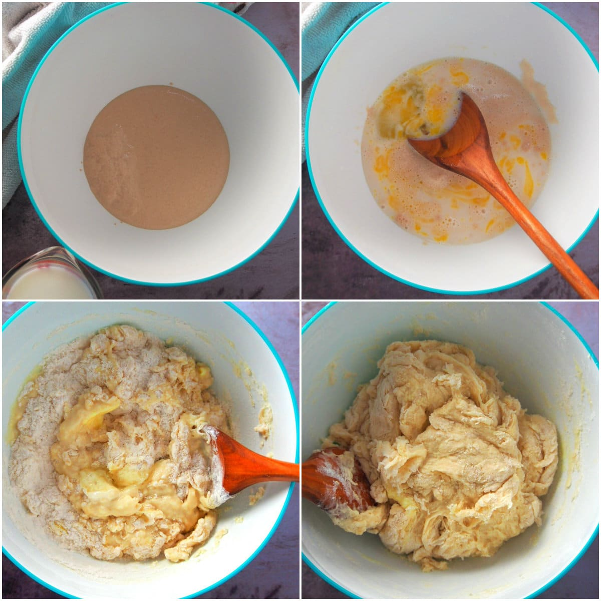 A photo collage showing how to make the bread dough for dulce de leche buns.