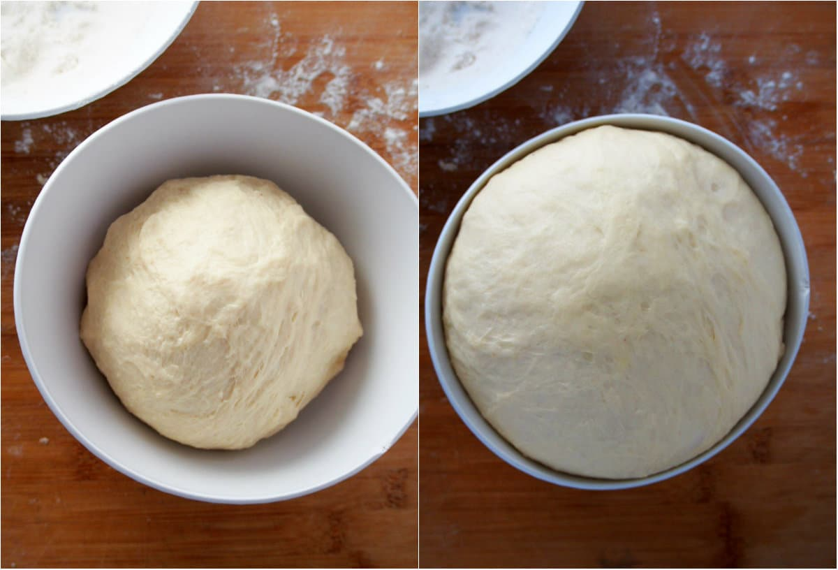 The kneaded dough of dulce de leche buns before and after the first rise.