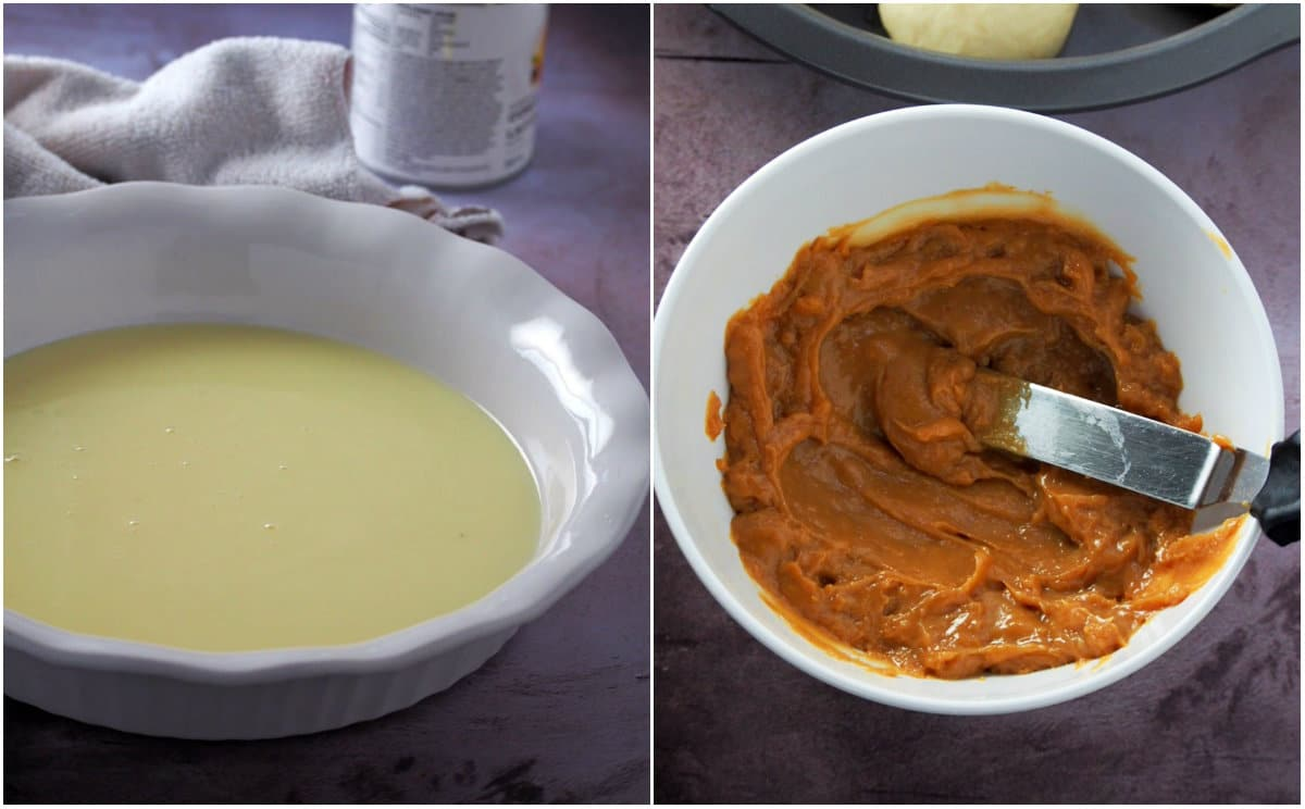 A collage showing how to make dulce de leche in the oven.