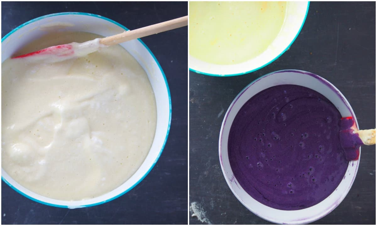 The chiffon cake batter divided into two and one is flavored with ube flavoring.