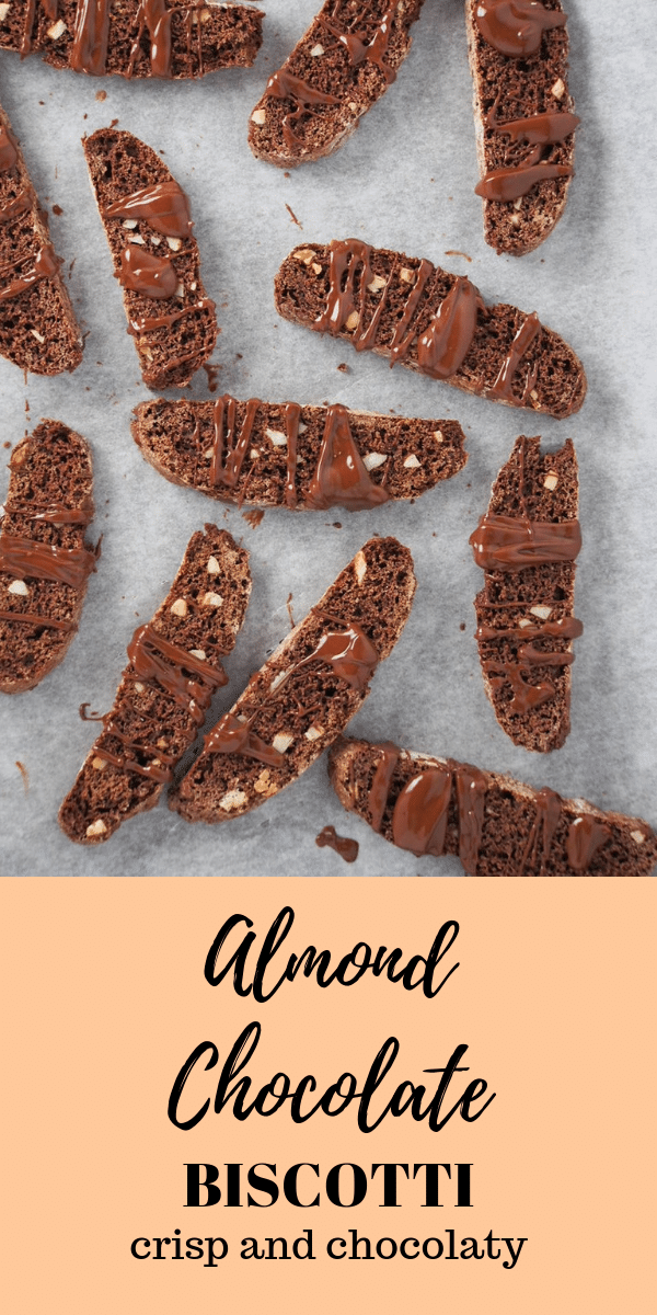 Thin and perfectly crisp, these Almond Chocolate Biscotti are the perfect baked treats to give as gifts during the holidays and also a trusty partner for your morning coffee any day. #biscotti #chocolatebiscotti #almondbiscotti