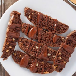 Glazed Almond Chocolate Biscotti on a serving plate.