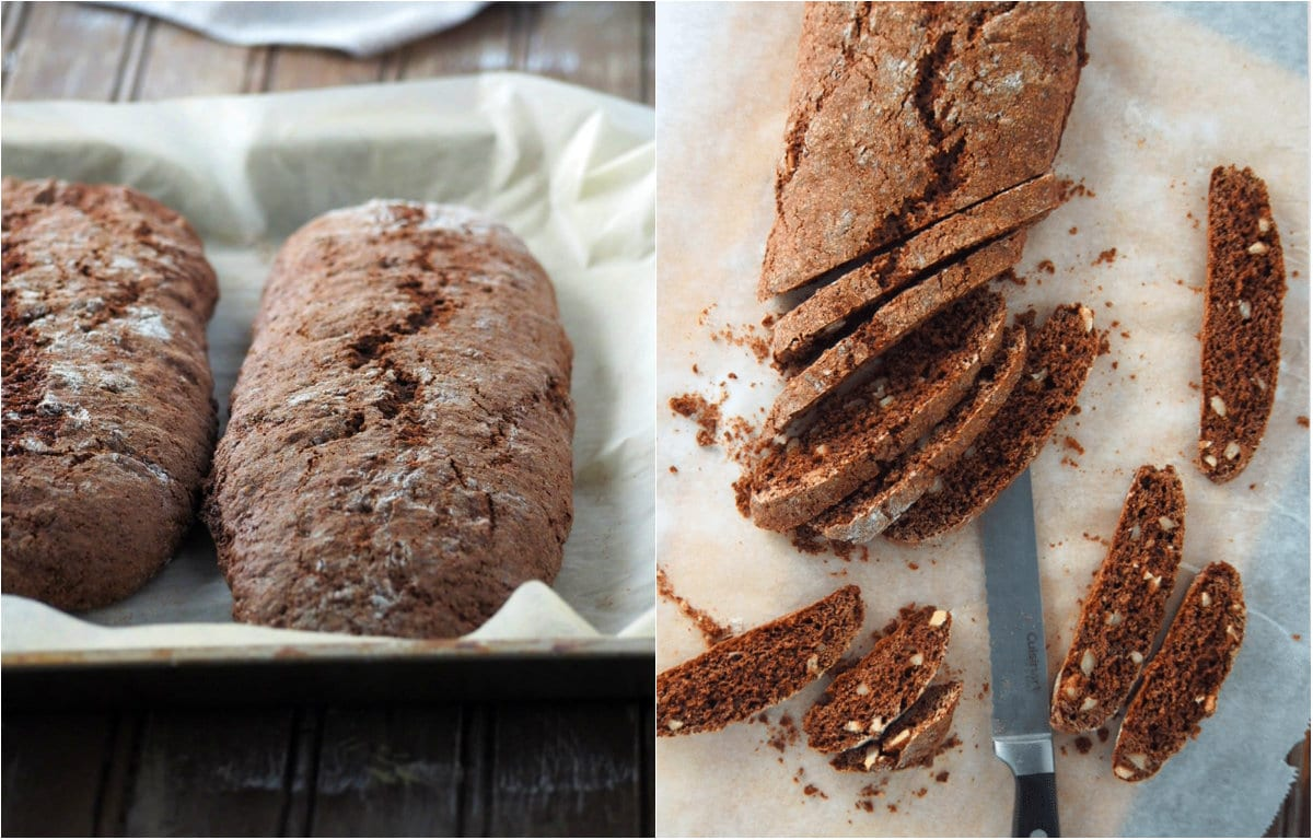 The almond chocolate biscotti dough baked and iced into thin pieces.