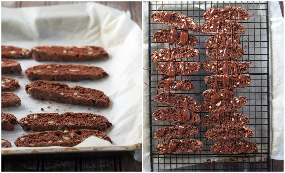 The biscotti slices baked again and then glazed with melted chocolate.