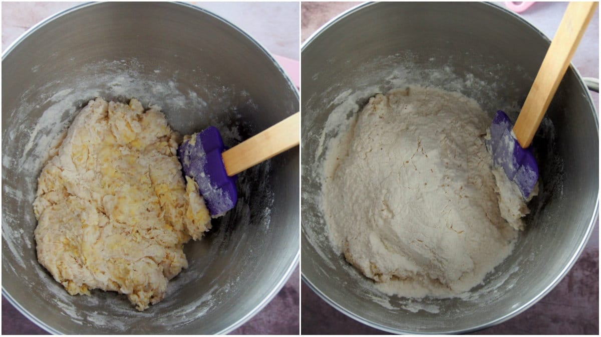 A collage showing how to make the sponge for the brioche dough.