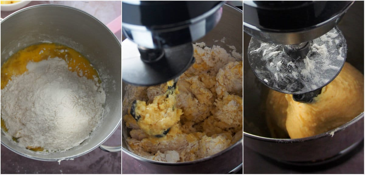 A collage showing the mixing of the brioche dough on a stand mixer.