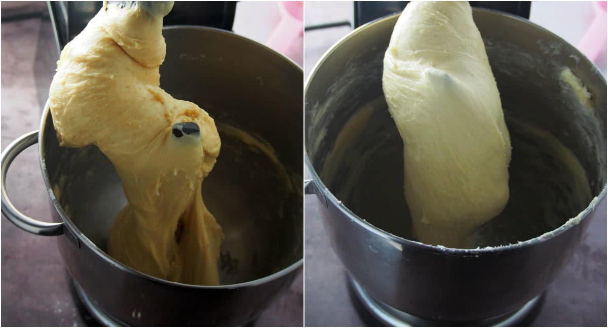 A collage showing the fully kneaded brioche dough on a stand mixer.