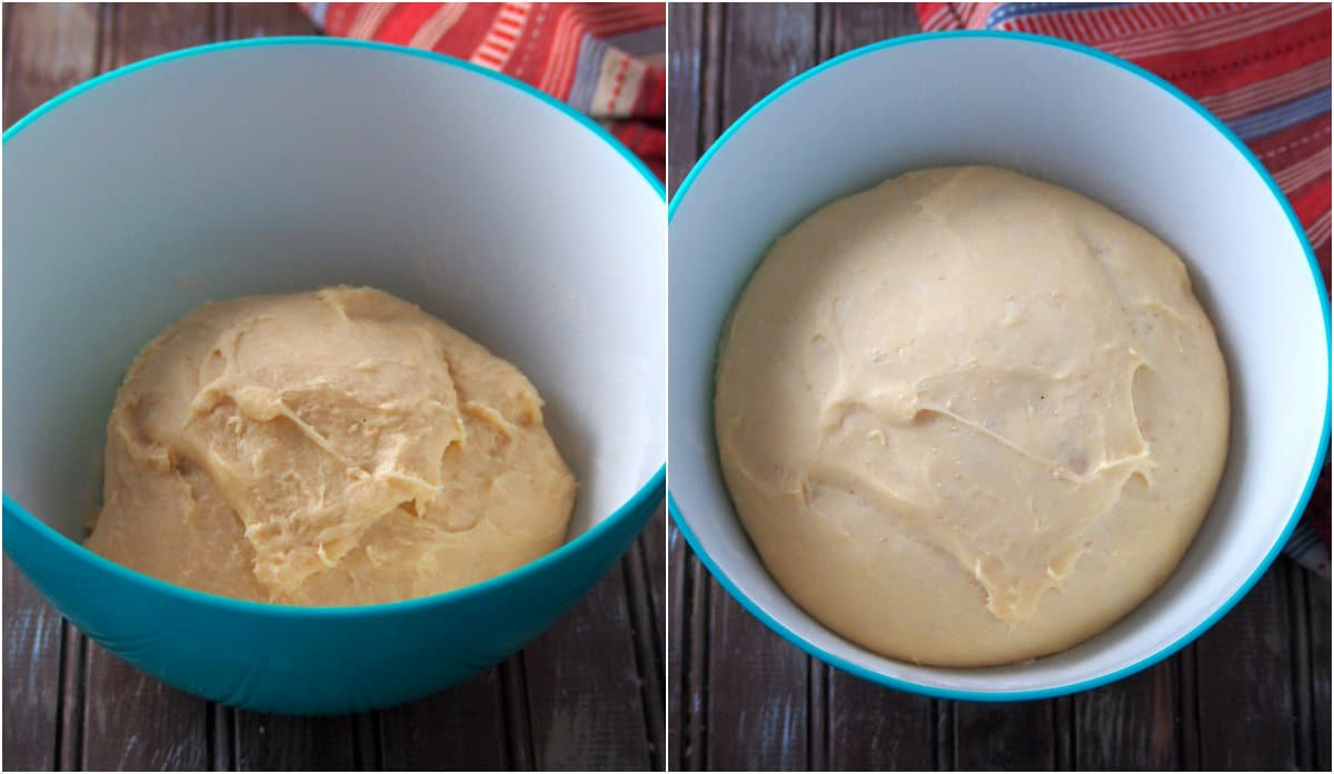 The kneaded dough of milk bread before and after the first rise collage.