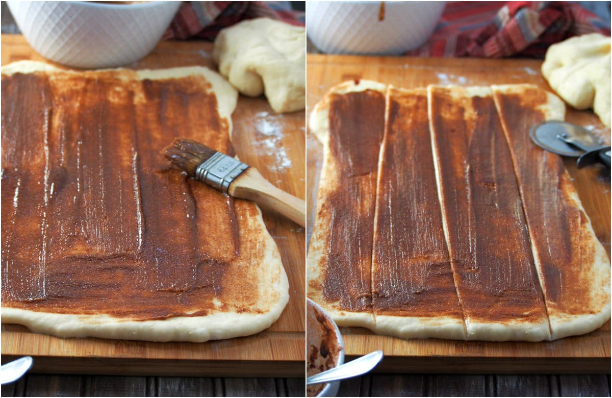 The risen dough rolled into a rectangle, and spread with cinnamon filling. The rectangle is cut into 4 vertical strips.