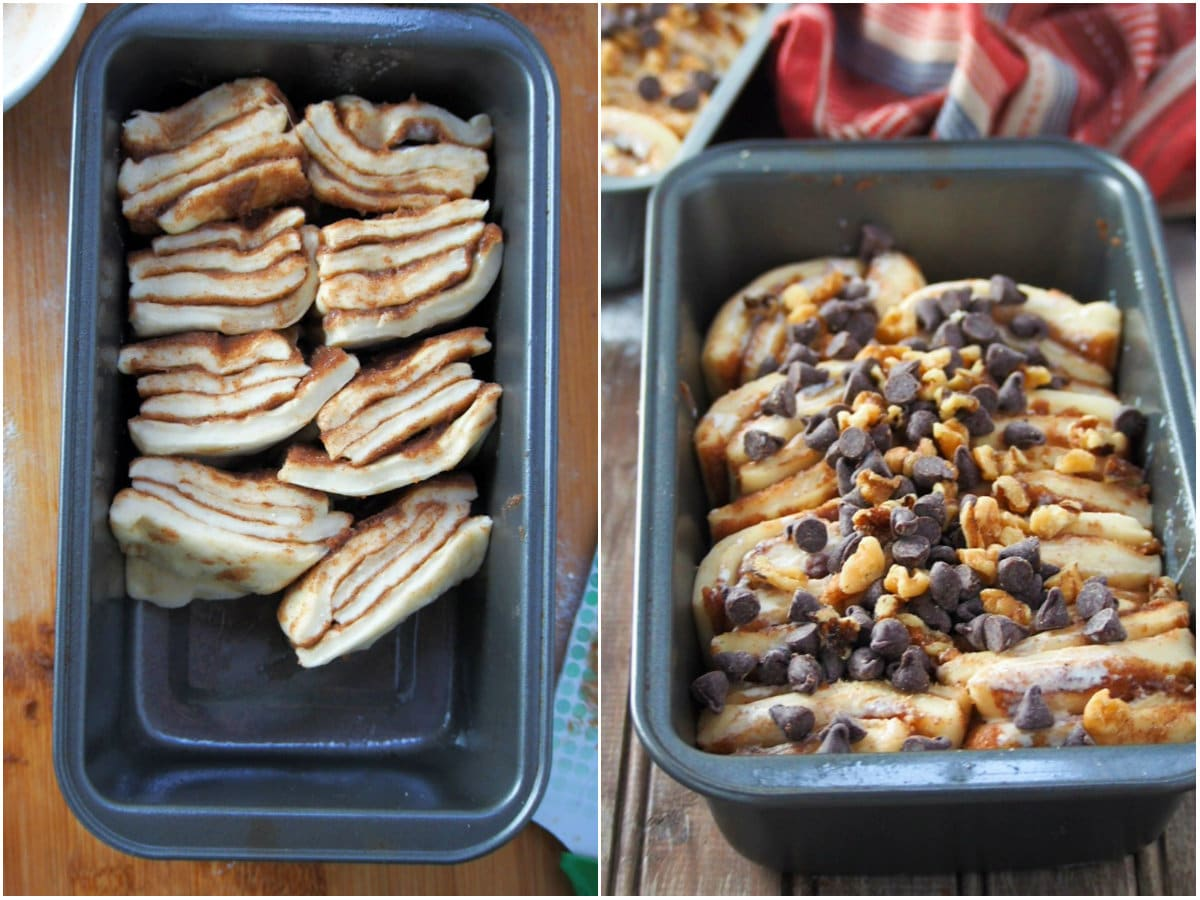 The strips of dough are placed on a loaf pan and allowed to rise, then topped with walnuts and chocolate chips.