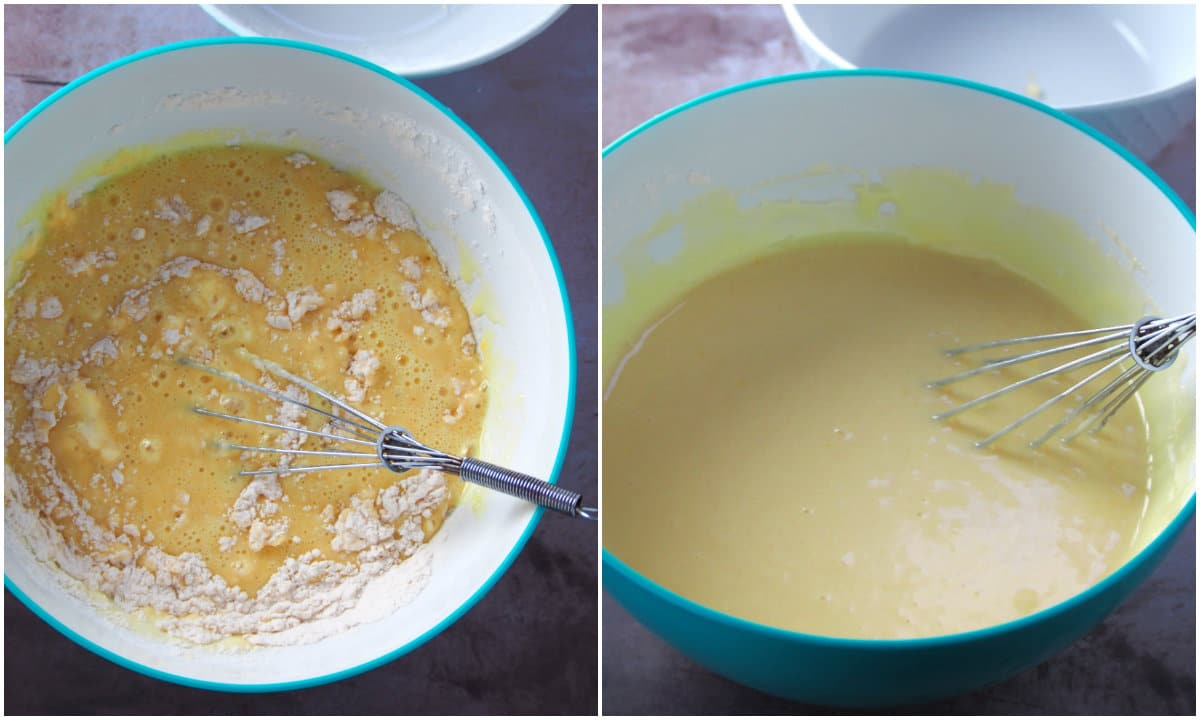 A photo collage showing how the yolk batter is mixed into smoothness.