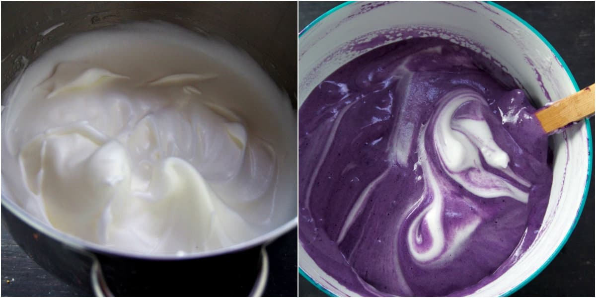 A photo collage showing a bowl of whipped egg whites on the left, and a bowl of ube cake batter on the right.