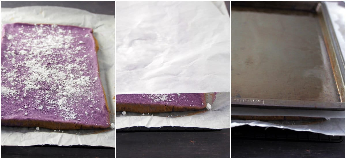 A collage showing how to prepare a chiffon cake for rolling.