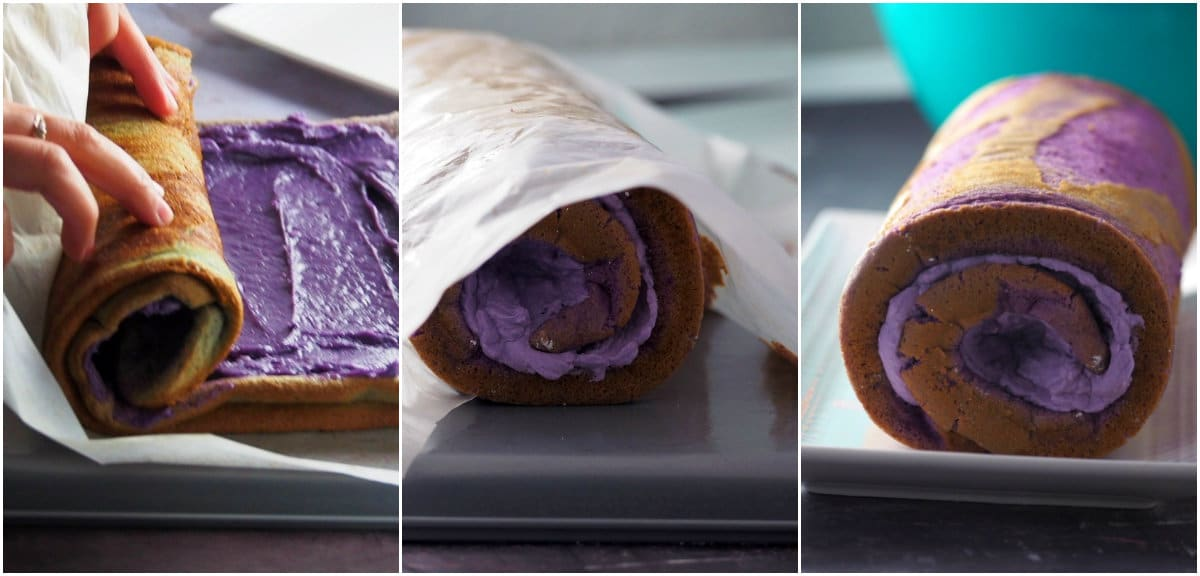 A collage showing how to roll an ube chiffon.
