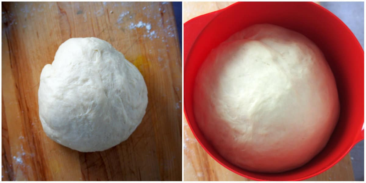 The kneaded dough, before and after the first rise.