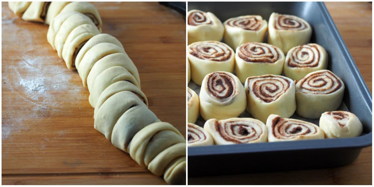 The cinnamon roll log cut into portions and arranged in a baking pan.