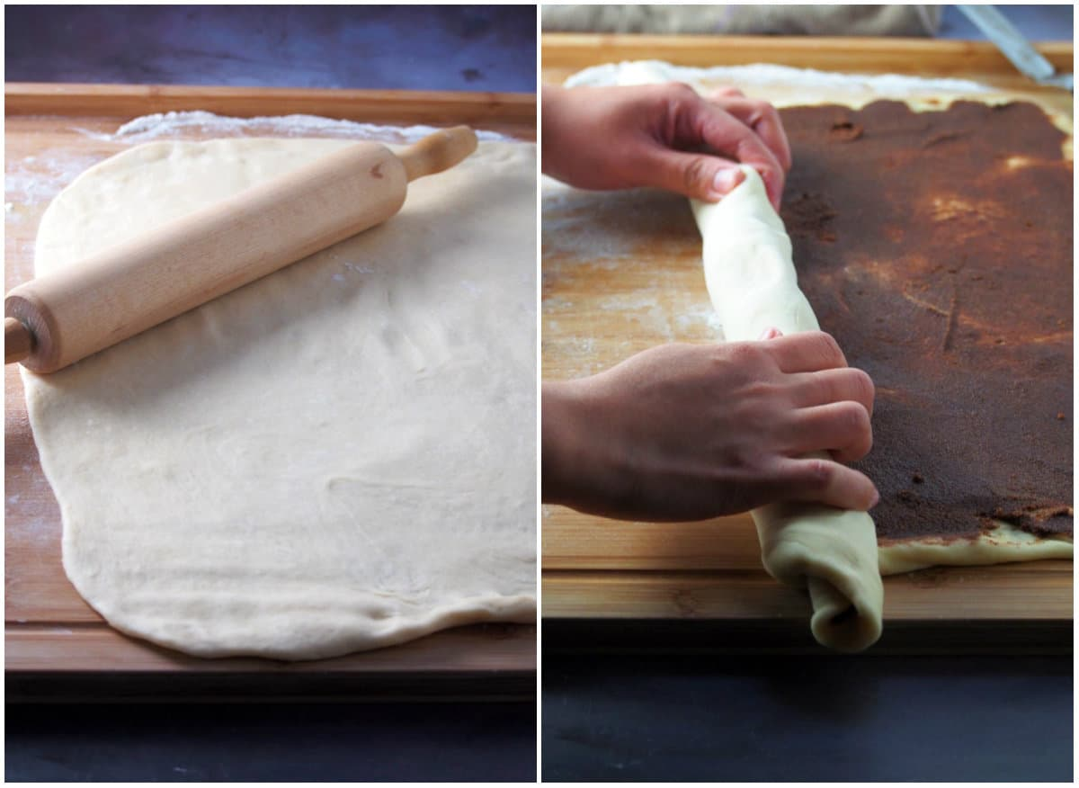 Rolling out the bread dough into a rectangle, then filling it with the cinnamon filling and rolling it into a log.