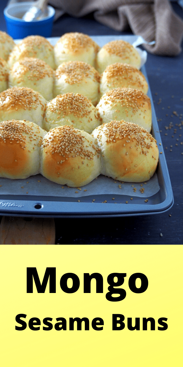 Mongo Sesame Buns or red mung sesame buns are soft bread filled with sweet red bean paste, then topped with savory sesame seeds to finish. Great flavors combined in small pockets of bread! #sesameseeds #redbeanpaste #sesamebuns