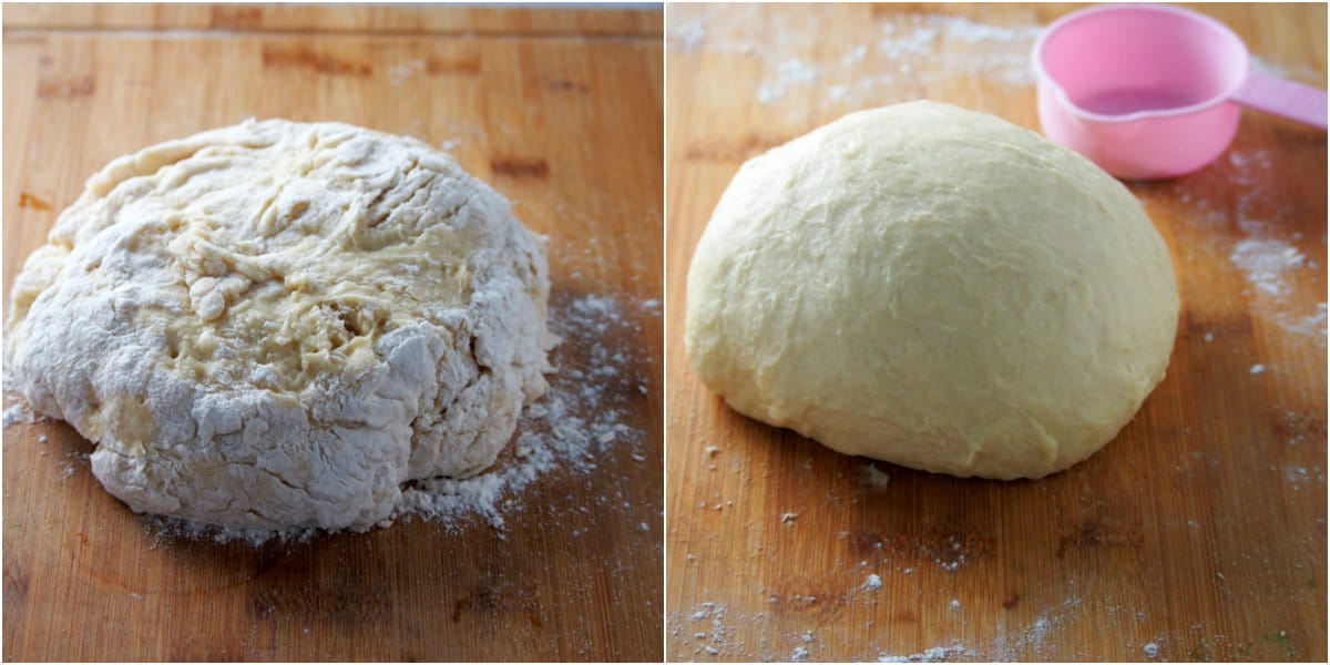 The dough for donuts before and after kneading.