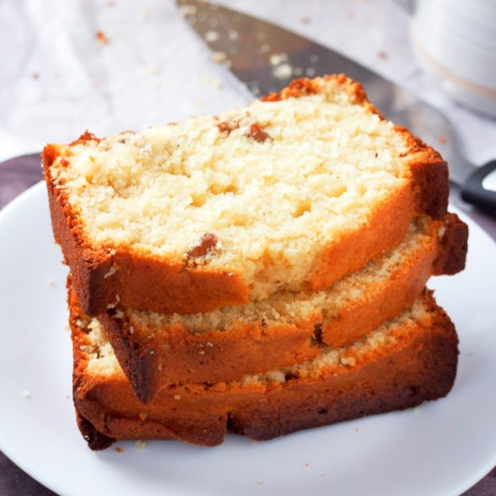 Brown butter pound cake slices on a plate.