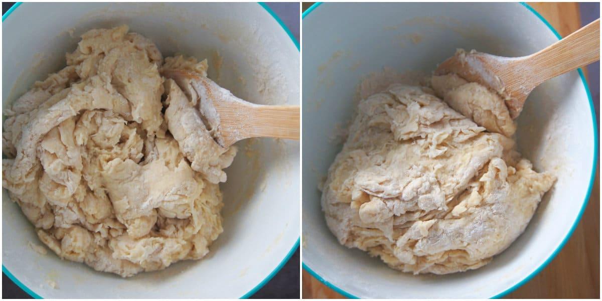 Mixing the dough for cinnamon buns.