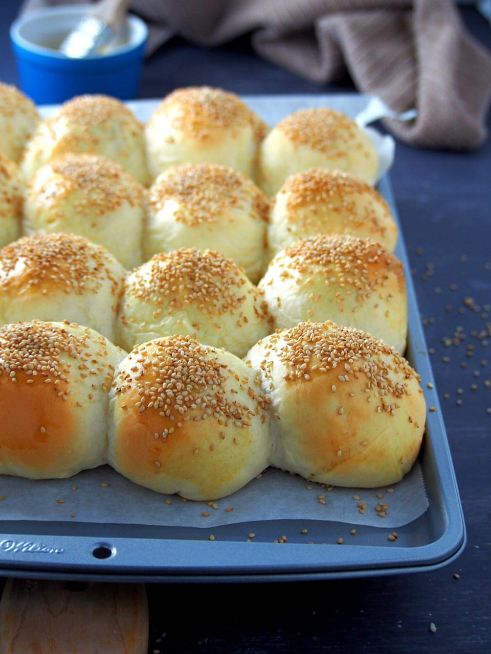 A tray of mongo buns just pulled out from the oven.